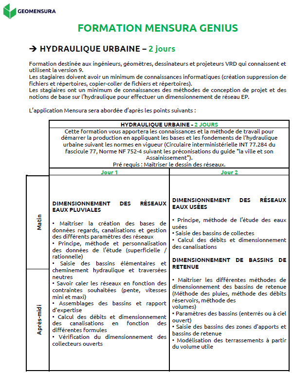programme de formation collective hydraulique urbaine